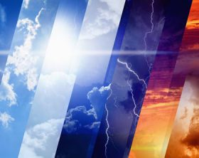 Weather forecast concept background - variety weather conditions, bright sun and blue sky, dark stormy sky with lightnings, sunset and night