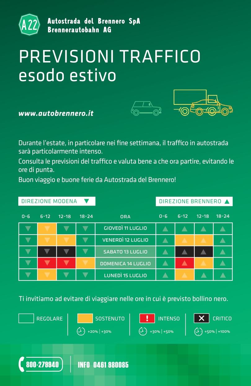 Calendario Traffico Autostrade.Le Previsioni Traffico Sulla A22 Del Brennero Il Prossimo